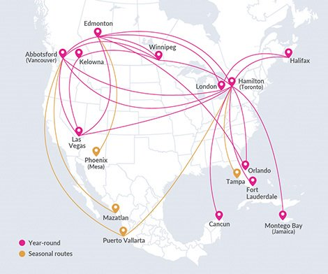 Swoop route map. Map shows pins at Abbotsford, Edmonton, Winnipeg, Hamilton and Halifax.