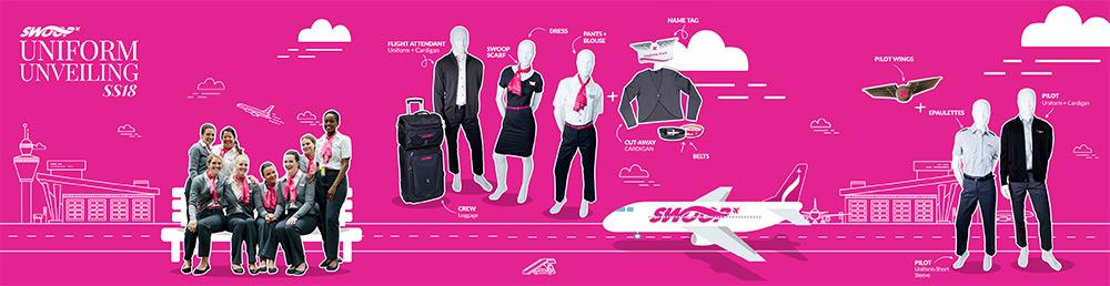 Swoop flight attendant uniforms.